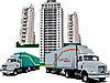 Векторный клипарт: Новое общежитие и два грузовика.
