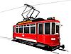 Векторный клипарт: Городской транспорт. Винтажный стиль трамвай.