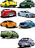 Vector clipart: Eight cars