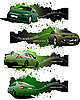 Four green grunge banners with cars