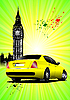 Vector clipart: London Poster with yellow car