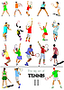 Vector clipart: set of tennis players