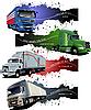 Векторный клипарт: Четыре гранж баннеры с цветными грузовиков.