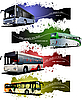 Four grunge Banners with city buses