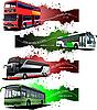 Векторный клипарт: Четыре гранж баннеры с городских автобусов.
