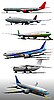 Векторный клипарт: Шесть самолетов на аэродроме.
