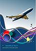 Векторный клипарт: плакат с пассажирским самолетом