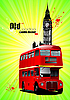 London poster with double decker red bus