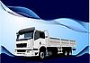 Векторный клипарт: Синий фон волны с грузовиком.