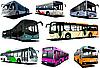 Vector clipart: Eight city buses