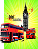 Vector clipart: Poster with old London red double Decker bus