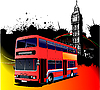 Vector clipart: Grunge London with bus.