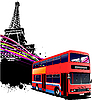Vector clipart: Red double bus in Paris