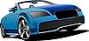 Векторный клипарт: Синий кабриолет на дороге.