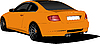 Vector clipart: Orange car-coupe on the road.