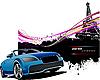 Vector clipart: Blue cabriolet car in Paris