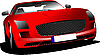Vector clipart: Red car on the road.