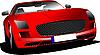 Векторный клипарт: Красный автомобиль на дороге.