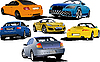 Vector clipart: Six cars