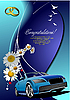 Vector clipart: Wedding invitation with cabriolet.