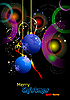 Vector clipart: Christmas - New Year shine card with blue balls