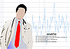 Vector clipart: doctor with stethoscope on cardiogram
