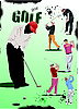Vector clipart: Poster with Golf players