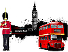 Grunge London banner with bus