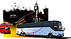 Vector clipart: Grunge London design with buses