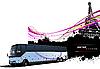 Векторный клипарт: Туристический автобус в Париже