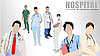 Vector clipart: doctors and nurses in hospital
