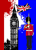 Vector clipart: Big Ben and Britain flag