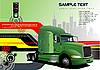 hi-tech background with green lorry