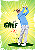 Векторный клипарт: Плакат с игроком в гольф