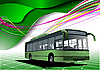 Vector clipart: green design with bus