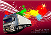 Red poster with lorry