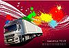 红色海报货车 | 向量插图