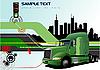 高科技背景的绿色货车 | 向量插图