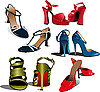 Vector clipart: Five pairs of Fashion woman shoes.