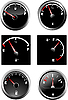 Vector clipart: Set of six car dash boards petrol meter, fuel gauge