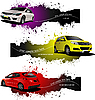 Three grunge banners with cars