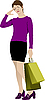 Vector clipart: Cute lady with shopping bags
