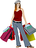 Vector clipart: Cute shopping lady with bags