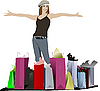 Vector clipart: Cute girl with shopping bags