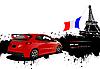 Красный автомобиль в Париже с французским флагом