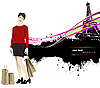 Vector clipart: young woman with shopping bags in Paris