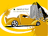 Vector clipart: Yellow poster with car