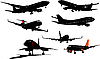Vector clipart: Airplane silhouettes