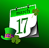 Vector clipart: Calendar page of St. Patrick`s Day. 17th march