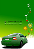 Green summer poster with car